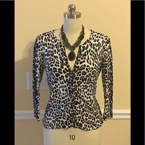 White House Black Market Animal Print Sweater